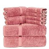 Luxury Spa and Hotel Quality Premium Turkish 8 Pieces Towel Set (2 x Bath Towels, 2 x Hand Towels, 4 x Wash Cloths) (Dobby Border, Pink)