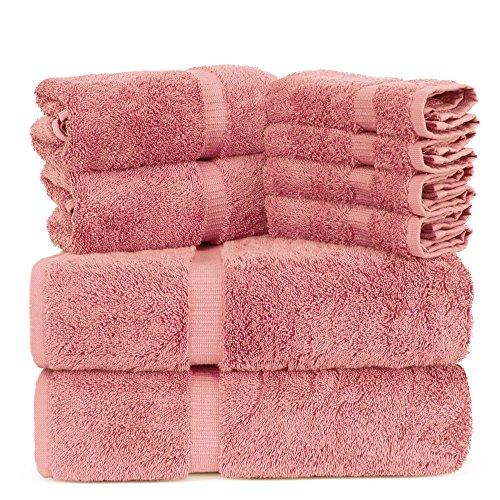 Towel Bazaar Luxury Hotel and Spa Quality 100% Premium Turkish Cotton 8 Pieces Eco-Friendly Kitchen and Bathroom Towel Set (2 x Bath Towels, 2 x Hand Towels, 4 x Wash Cloths, Pink)