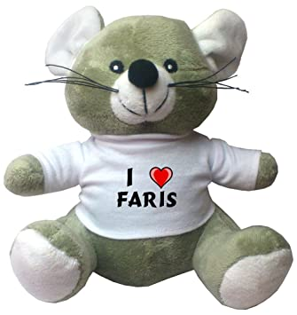 Plush Mouse with I Love Faris T-shirt (first name/surname/nickname