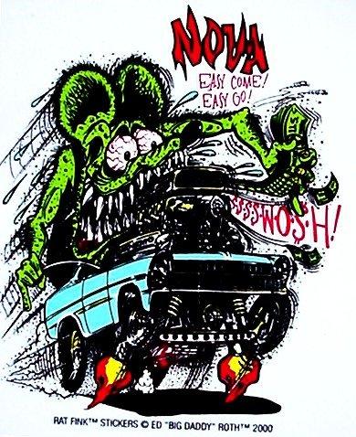 (Rat Fink CHEVY NOVA Hot Rod Decal / Sticker)