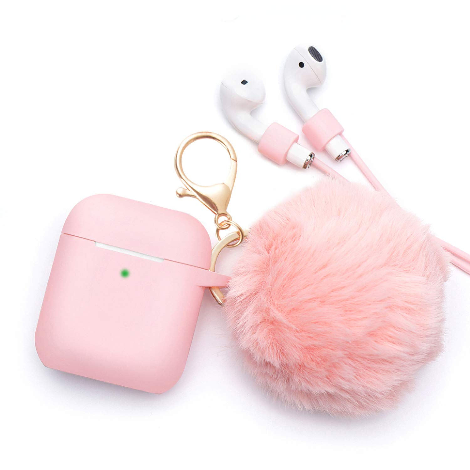 BLUEWIND Airpods Case - BlUEWIND Drop Proof Air Pods Protective Case Cover Silicone Skin for Apple Airpods 2 & 1 Charging Case, Cute Fur Ball Airpod Keychain/Strap, Pink