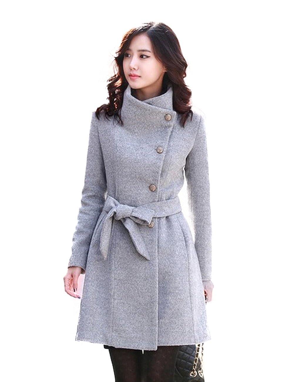 Angelia Women Wool Blends Coat Slim Trench Winter Coat Long Jacket Outwear With Belt