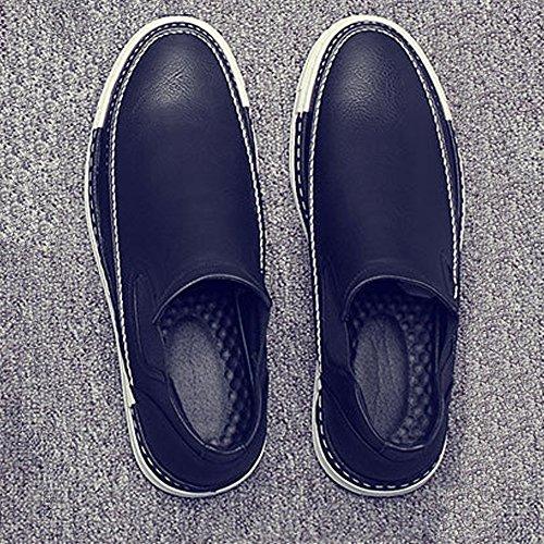 Black gentiluomini Flat Leather amp;Baby PU uomo per Elastic Dual Warm Scarpe Suola da Panel Stivaletti Soft Leather Sunny Durevole 4wZqBU8