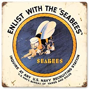 Past Time Signs HA017 Seabees Allied Military Vintage Metal Sign
