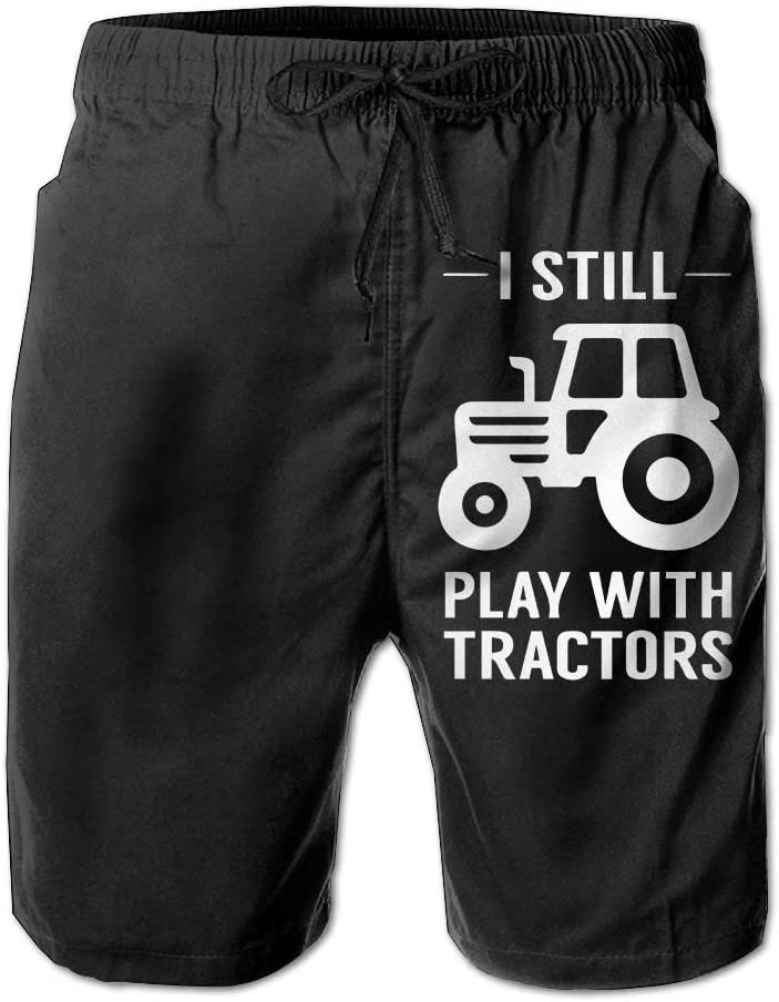 I Still Play with Tractors Mens Lightweight Boardshorts Drawstring Swim Trunks with Pockets