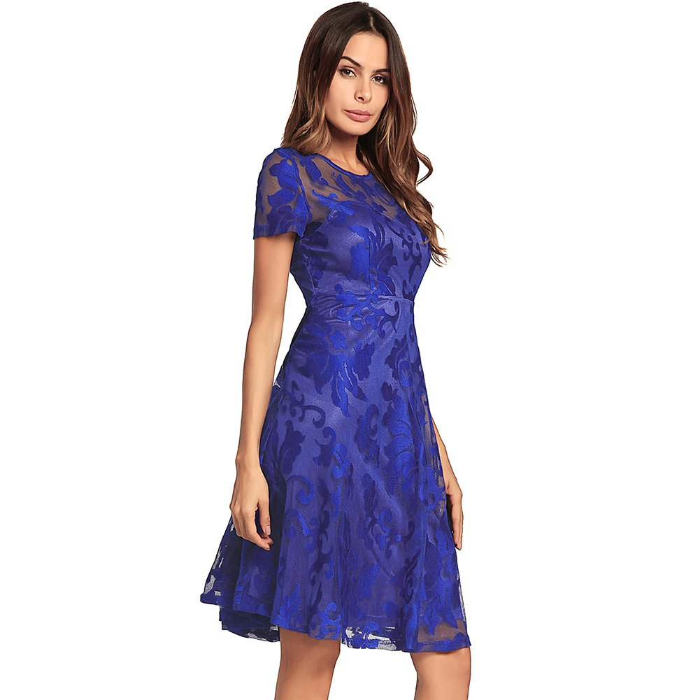 bluee DEELI KAKA Women Casual Summer Short Sleeve Lace Dresses
