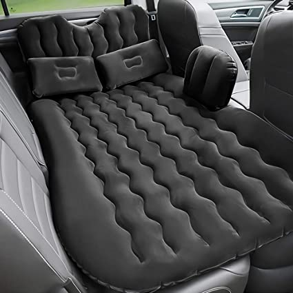 Car Air Mattress Travel Inflatable Back Seat Air Bed Cushion with Auto Pump and Two Pillows Blow Up Air Mattress fits Car Black for Travel and Camping Truck SUV