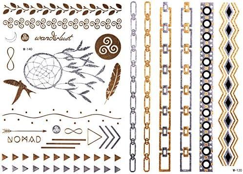 Tempo rary Tattoo Oro ✓ doble Juego sobre 25 Diseños (Cadenas + ...