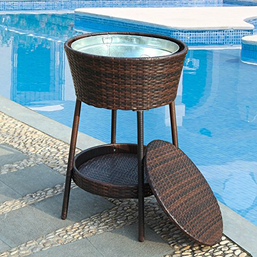 DecentHome Wicker Ice Bucket Outdoor Patio Furniture Set All Weather  Beverage Cooler With Tray