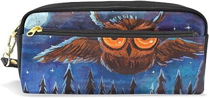 ALARGE - Estuche de piel sintética con diseño de búho, luna, estrella, luna, luna, para lápices, lápices, maquillaje, cosméticos, viajes, escuela: Amazon.es: Oficina y papelería