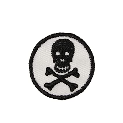 Iron on White Skull and Crossbones Applique Patch
