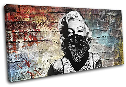 Bold Bloc Design – Marylin Tattoo Graffiti Grunge Urban 80x40cm SINGLE Canvas Art Print Box Framed Picture Wall Hanging – Hand Made In The UK – Framed…