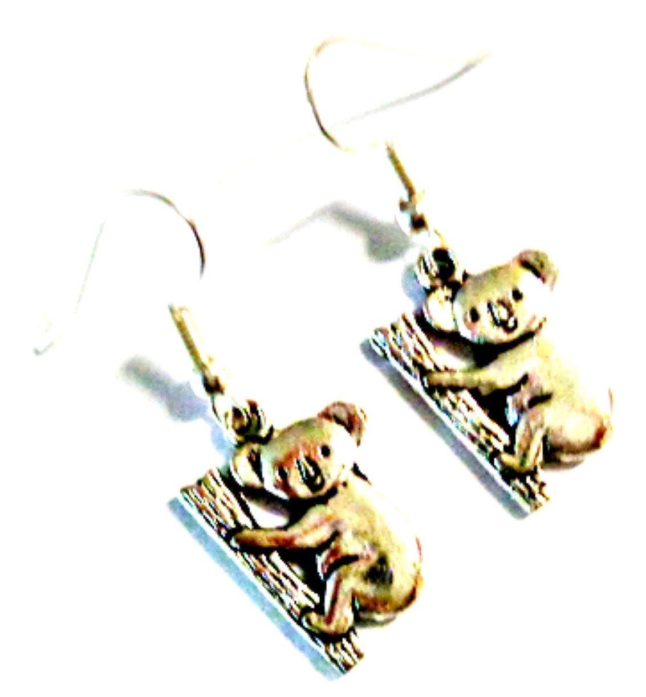 Tibetan Silver Koala Bear Design Dangle Earrings