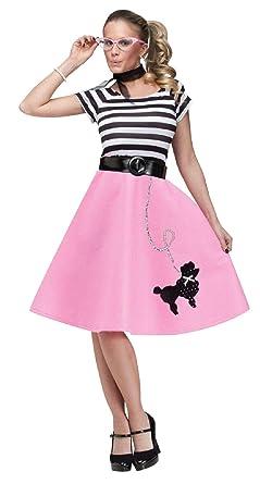 d255af563a Amazon.com: Adult 50s Soda Shop Sweetie Poodle Skirt Costume: Clothing