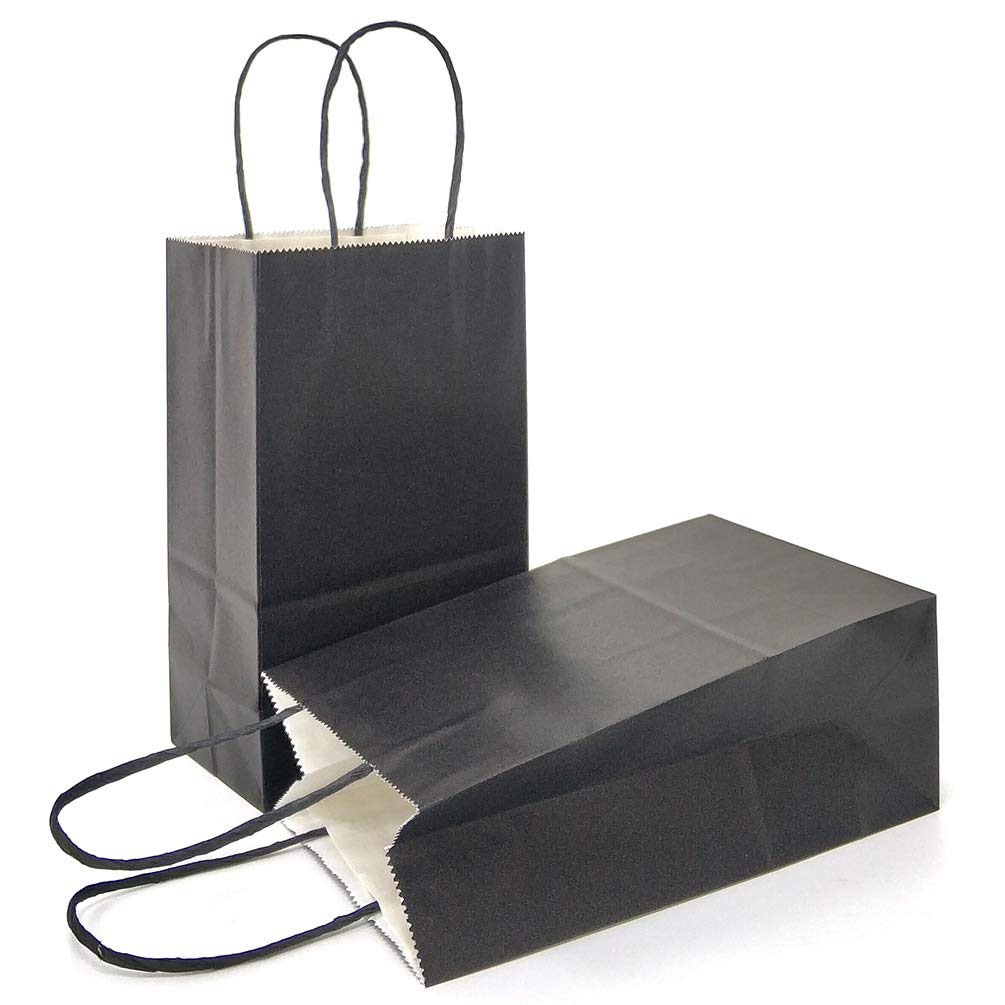 Amazoncom Azowa Gift Bags Black Kraft Paper Bags With Handles