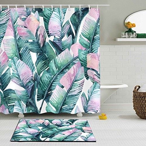 LB South Asia Tropical Green Plant Palm Leaves Decoration Polyester Shower Curtain Liner Fabric 3D 60x72 Durable Waterproof Pastel Pink Banana Bathroom Bath -