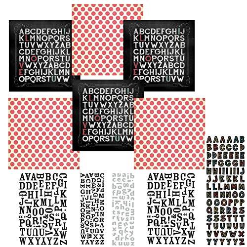 Chalk Studio Alphabet Love Scrapbook Kit | Alphabet Stickers - 12 x 12 Cardstock Paper | Scrapbook Stickers & Cardstock Kit | 3D Stickers | 355 Piece! Chalk Scrapbooking ()