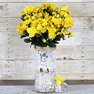 BalsaCircle 120 pcs Yellow Silk Gardenia Flowers – 4 Bushes – Artificial Wedding Party Centerpieces Arrangements Bouquets Supplies