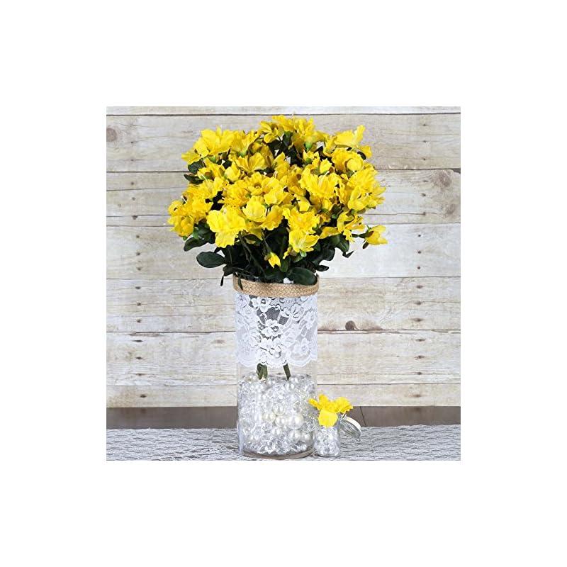 silk flower arrangements balsacircle 120 pcs yellow silk gardenia flowers - 4 bushes - artificial wedding party centerpieces arrangements bouquets supplies