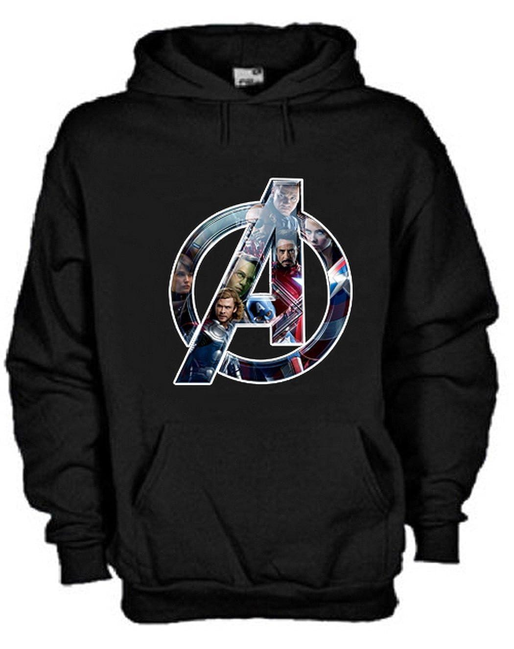 Felpa con Cappuccio Avengers Personaggi Marvel Personalizzata Nera