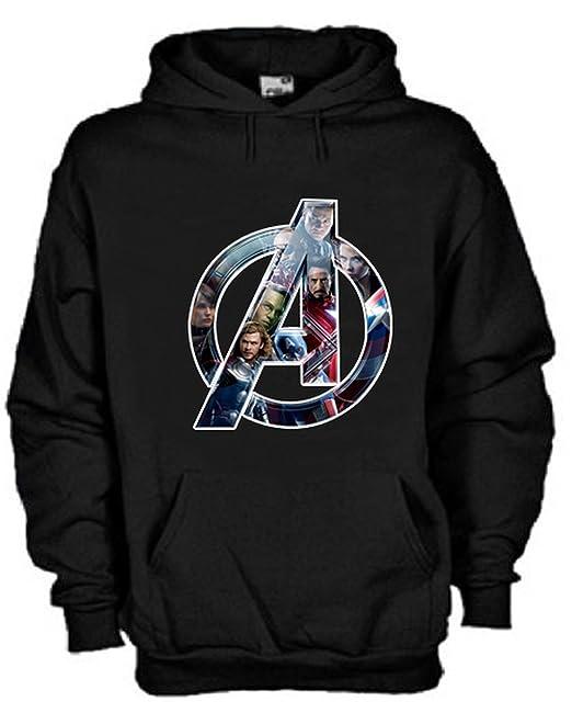 negozio online 3feae 2fc55 Felpa con Cappuccio Avengers Personaggi Marvel Personalizzata Nera