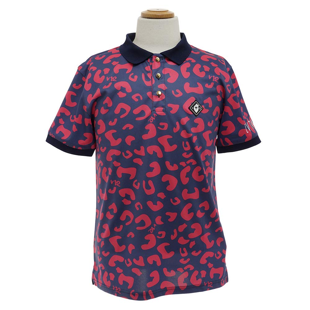 半袖ポロシャツ メンズ V12 ゴルフ ヴィトゥエルブ 2018 盛夏 ゴルフウェア 1820-ct02m L(L) ネイビー×ピンク(NVY-PNK) B07F7PJHFZ