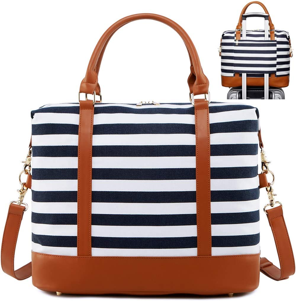 Travel Weekender Overnight Bag Womens Canvas Carry-on Duffel Tote Bags for Mens Suitcase in Trolley Handle