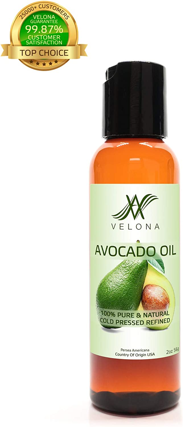 100 Organic Avocado Oil by Velona All Natural Extra Virgin MOISTURIZER for Hair, Body and Skin Care Refined, Cold Pressed Size 48 OZ