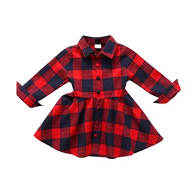 d5b41d01a Brightup Red Plaid Dress, Kids Baby Girl Red and Black Plaid Print Dress  Outfits Clothes Christmas Dress: Amazon.co.uk: Clothing