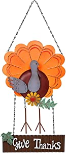 FORUP Vintage Metal Thanksgiving Turkey Welcome Sign, Autumn Harvest Give Thanks Front Door Wall Hanging Decoration, Welcome Home Garden Wall Flag, Fall Thanksgiving Door Decorations
