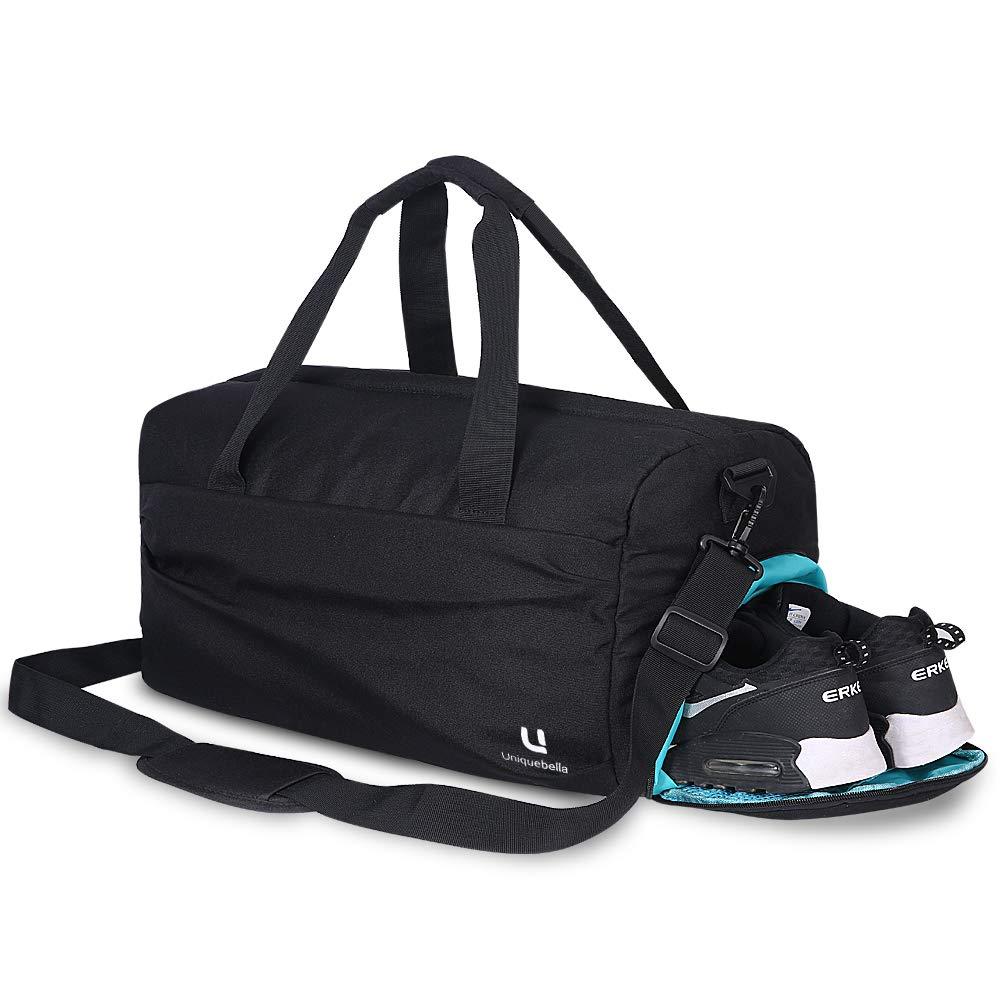 23 l UNIQUEBELLA Sac de Sport avec Compartiment /à Chaussures et Poche Humide pour Homme et Femme Gris//Noir