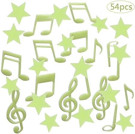Luminoso Pegatinas de Pared Estrellas, BETOY 54pcs Pegatinas Fluorescente Decoración de Pared Estrellas Luminoso Pegatinas para Dormitorio de Niños, Símbolo Musical y Estrellas