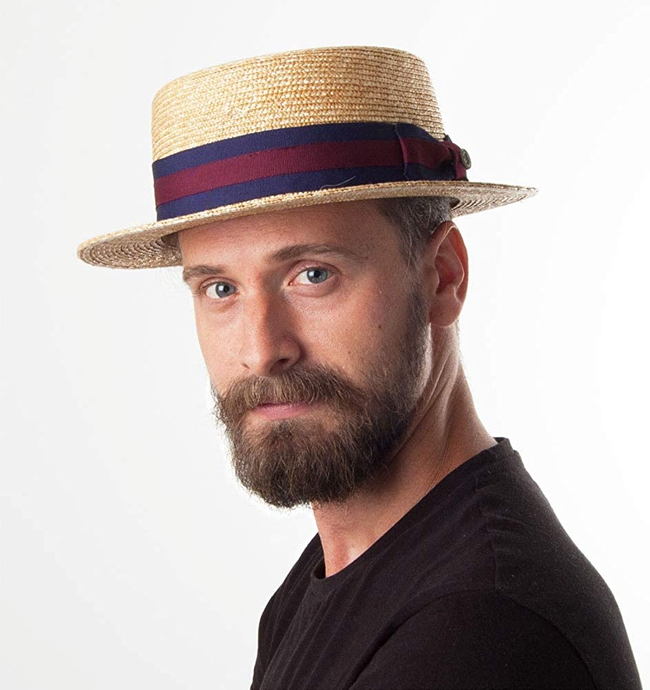Jaxon /& James Straw Boater Hat Striped Band