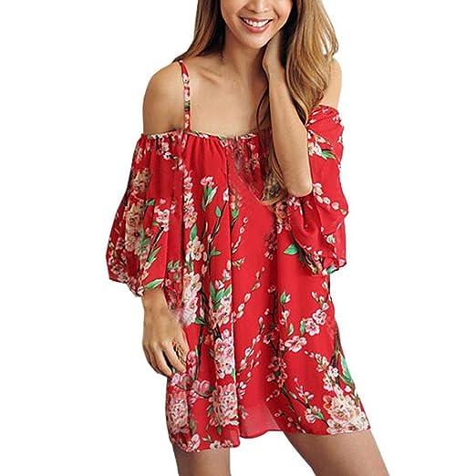 TOPUNDER Women Chiffon Boho Flower Loose Tops Off Shoulder Sexy T-Shirt Blouse (S