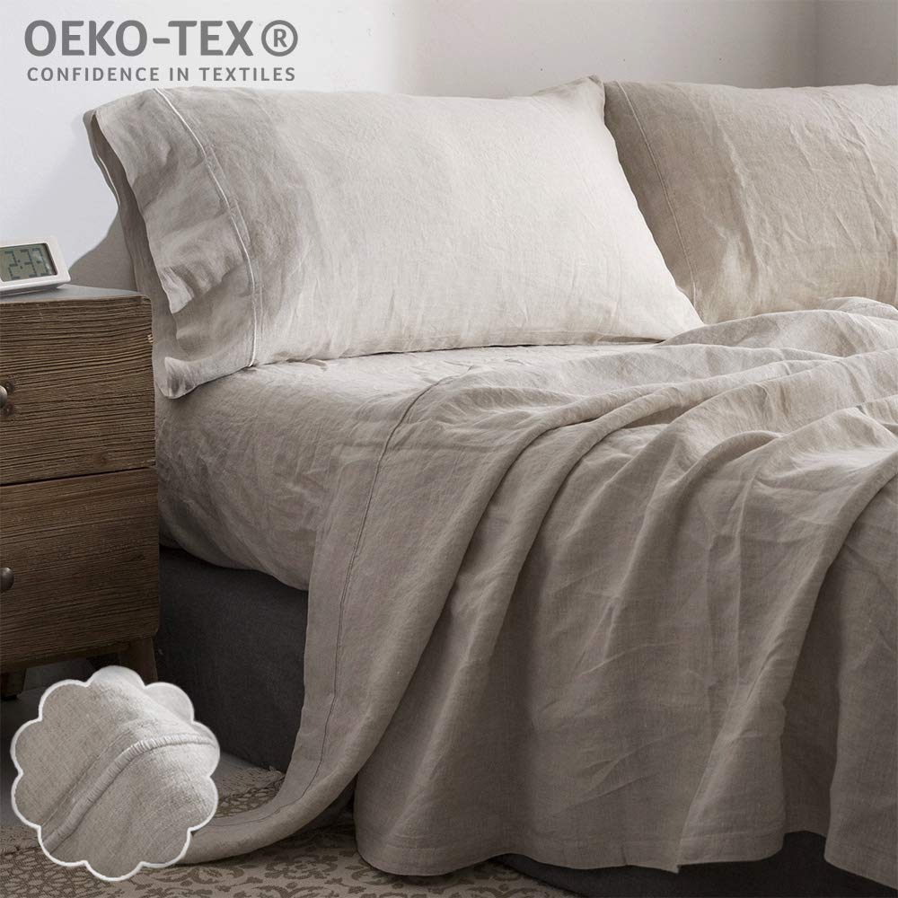 Simple&Opulence 100% Linen Sheet Set Embroidery(Queen,Embroidery Linen)