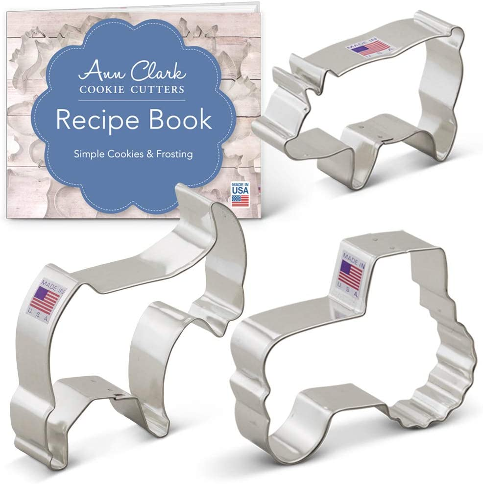Ann Clark Cookie Cutters 3-Piece Farm Cookie Cutter Set with Recipe Booklet, Pig, Goat, Tractor