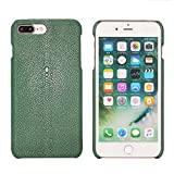 Luxury Case For iPhone 8 Plus and 7 Plus (5,5)'' Hand Made from Genuine Stingray Fish Skin, Premium Cover by Trop Saint - Green