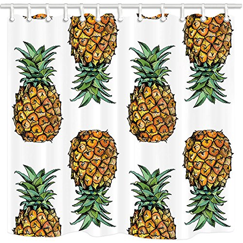 NYMB Tropical Fruit Decor, Vintage Pineapple Fruits with Leaves Shower Curtains 69X70 inches Mildew Resistant Polyester Fabric Bathroom Fantastic Decorations Bath Curtains Hooks Included (Multi10)