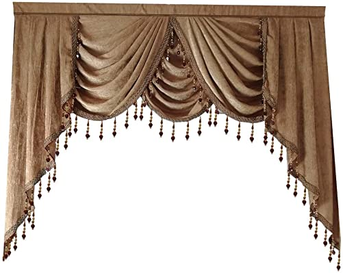 European Solid Brown Chenille Waterfall Blackout Curtain Valance Beaded Villa Lace Edge Luxury Curtain Drapes Rod Pocket Top Window Treatments Valance