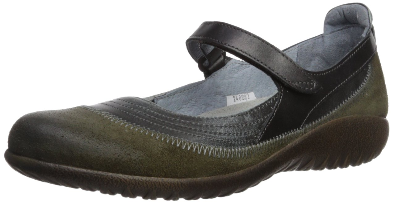 NAOT Women's Kirei Mary Jane Flat B01N9U2CX8 37 Medium EU (6 US)|Oily Olive Suede/Vintage Smoke Leather/Black Pearl Leather