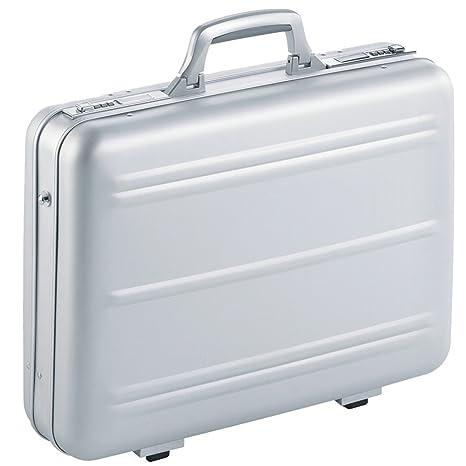 Maletin Maleta Attache de aluminio plateado para portátiles caja de la computadora caso Notebook