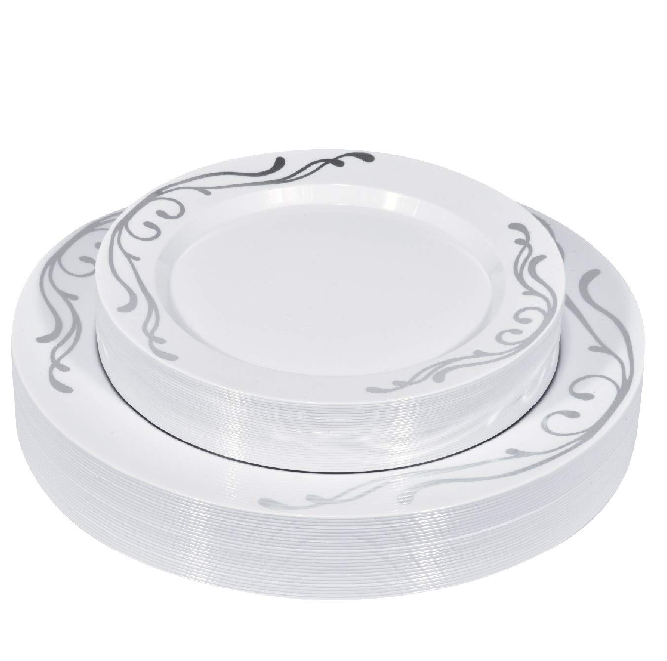 50-Piece Elegant Plastic Plates Set Service for 25 Disposable Plates Combo Include: 25 Dinner Plates & 25 Salad Plates for Weddings, Parties, Catering & Everyday Use (Silver Scroll) -Stock Your Home