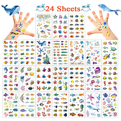 (Le Fu Li 325 PCS Ocean Animals Temporary Tattoos/Stickers for Kids - Carnival Baby Shower/Birthday Party Supplies Under the Sea/Tropical Fish/Luau Party Goodie Bag Stuffers)