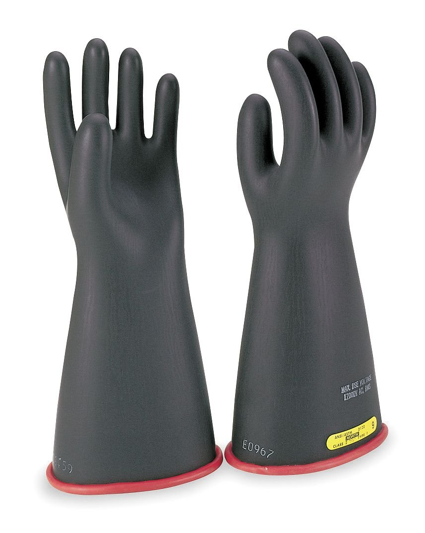 Salisbury Black Exterior/Red Interior Electrical Gloves, Natural Rubber, 1 Class, Size 9 9 E114RB/9 - 1 Each