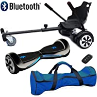 """Nero Sport Chic Bluetooth 6.5"""" Hover Scooter Board Self Balance with Hoverkart Go-Kart attachment bundle combo - Includes carry bag and remote key"""