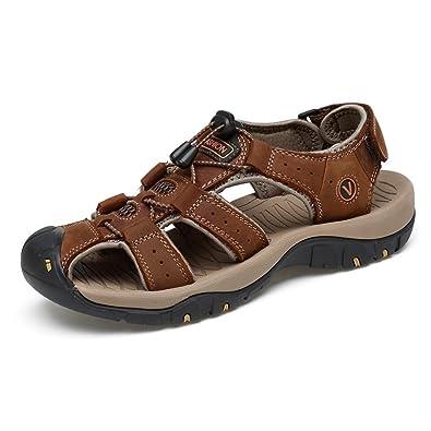 Pantoufles de plage en cuir véritable pour hommes Sandales occasionnels Chaussures à semelle antidérapante Réglable Backless , Sandales à bascule pour hommes ( Color : Brown , Size : 40 EU )