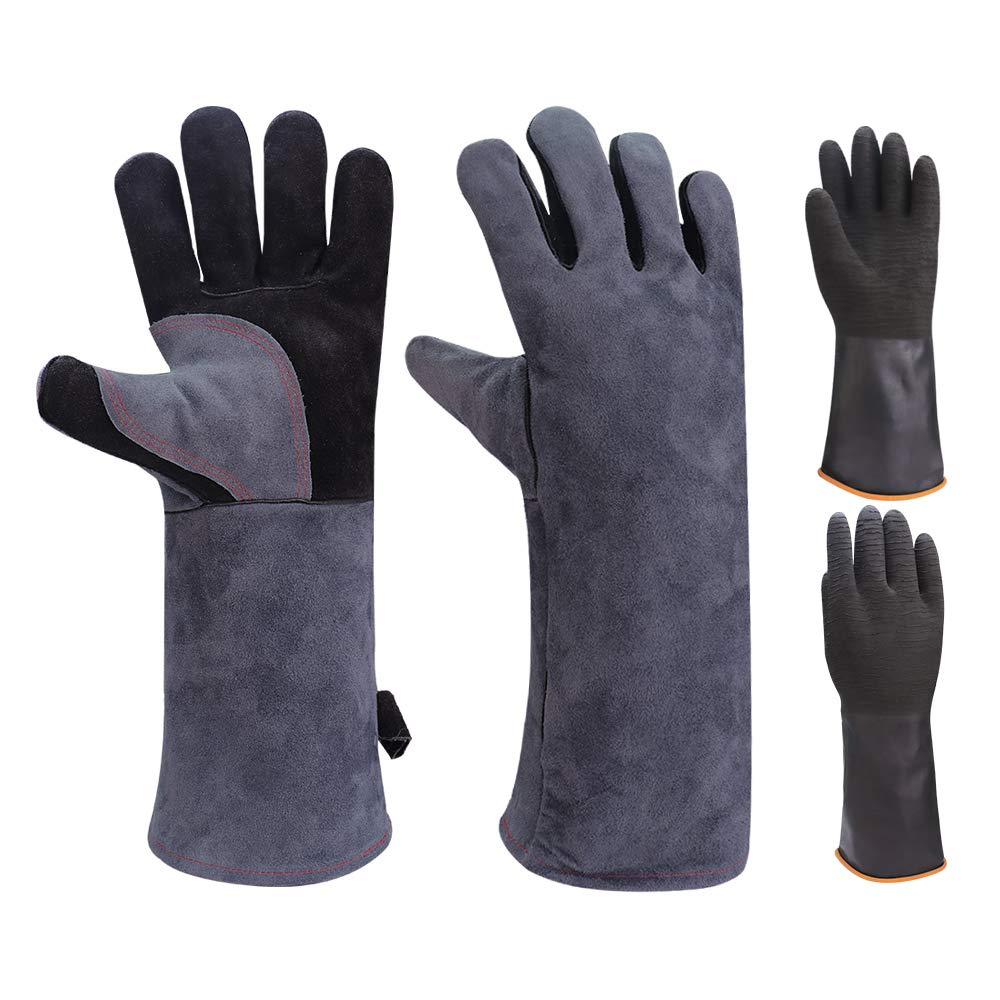 GEEKHOM BBQ Gloves 16 inch Long 932°F Heat Resistant Leather Gloves Oven Mitts for Barbecue Grills Smokers Cooking Grilling Welding Instant Pot Dutch Pizza Oven Turkey Air Fryer Wood Stove Fireplace