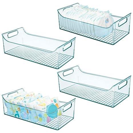 mDesign Juego de 4 cestas organizadoras para Cuarto de bebé – Contenedor plástico Grande con prácticas Asas y sin Tapa – Amplia Caja para Juguetes o ...