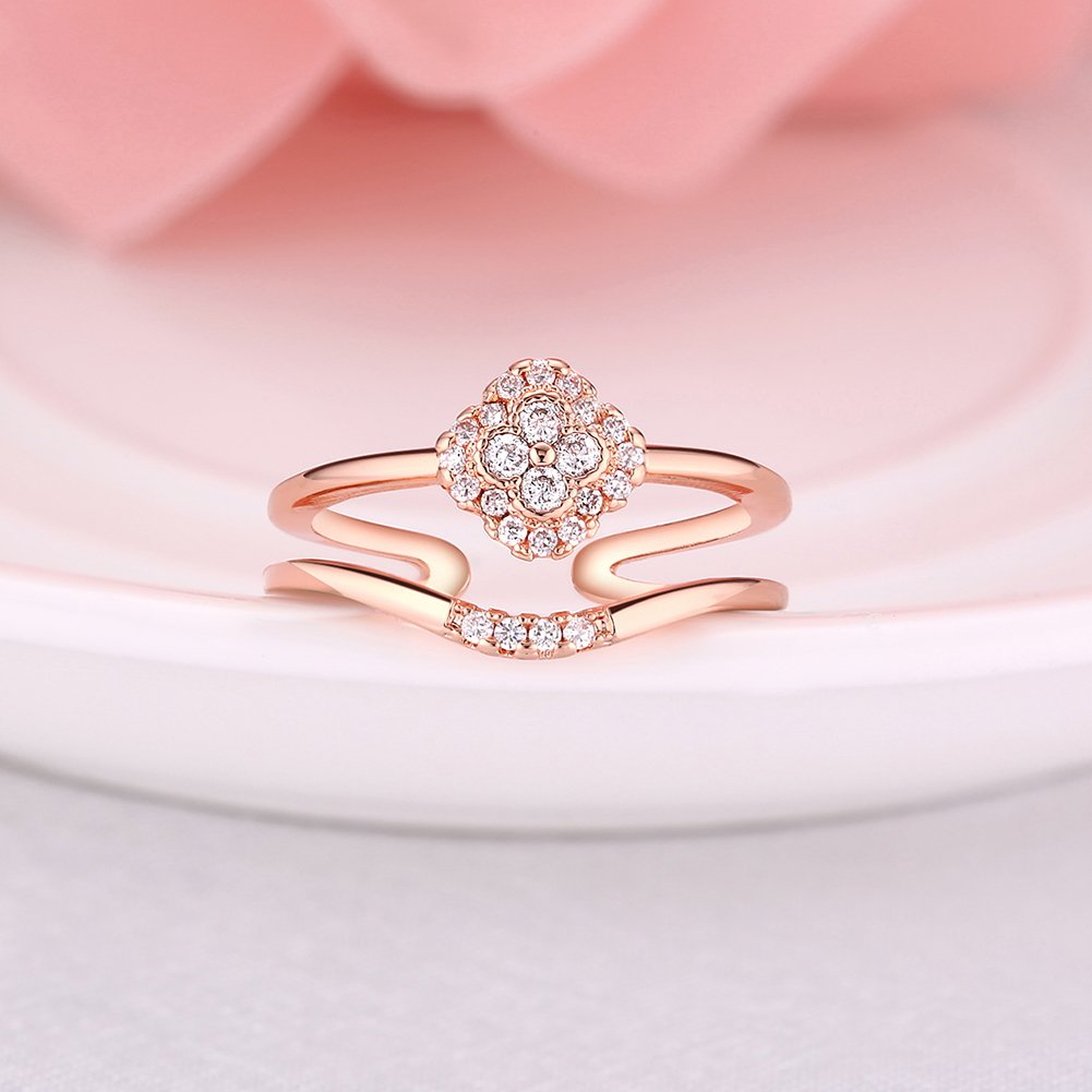 Amazon.com: Silver Daisy Summer Flower Retro Style Round Engagement ...