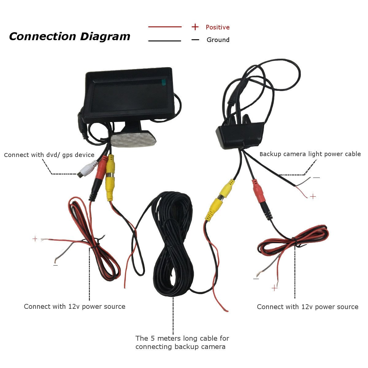 Audew Car Backup Camera CCD Monitor Reverse Rear-view Kit For ...